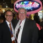 Pete Gustafson of Sega Amusements USA and AAMA&#039;s John Schultz
